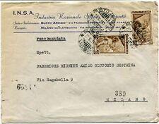 1951 Italia al Lavoro RACCOMANDATA INSA Ind. Naz. Saponi Appretti Busto Arsizio