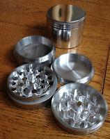 4-Part Aluminium Metal Pollinator Herb Grinder - Silver Magnetic diamond sharp