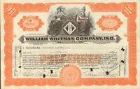 William Whitman Company > MA stock certificate share