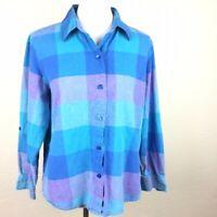 Liz Baker Women's Blue Plaid Long Sleeve Blouse Sz PL