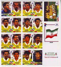 Coupe du monde France 98 Panini-équipe nationale Iran Set