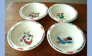 LOT 1995 4 KELLOGG CEREAL BOWLS tony frosted flakes snap crackle pop rice crisp