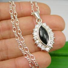 Black Onyx White CZ Gemstone Claw Pendant Necklace Genuine 925 Sterling Silver