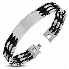 Bracelet Man Steel Triple Silver And Rubber Plate Identity