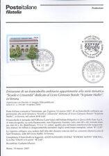 ITALIA 2007 LICEO SCIPIONE MAFFEI VERONA  BOLLETTINO COMPLETO DI FRANCOBOLLI FDC