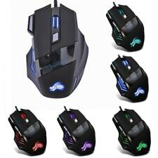 5500DPI Wired Gaming Mouse Professional 7 Buttons USB Cable LED Optical Gamer Mo