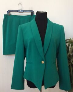 Tahari Women's Green Polyester Blend 2 Piece Skirt Suit Size 14P EUC! MSRP $280