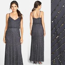 NEW Adrianna Papell Embellished Gown Gunmetal [ 2 6 8 10 10P 12 12P 14 ] #M1