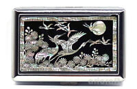Mother of Pearl Cran Metal Cigarette Tobacco Holder Credit Card Case Box Wallet