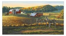 Whitetails Fabric Panel by Darrell Bush Deer on the Farm Scenic Premium Cotton