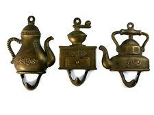 New listing Vtg 3 Brass Coat Hooks Made in Italy Coffee Mill Pot Tea Kettle Decor 4.5''