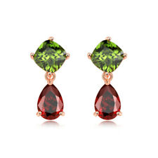 Elegant Jewelry Natural Green Peridot Red Garnet Rose Gold Stud Hook Earrings