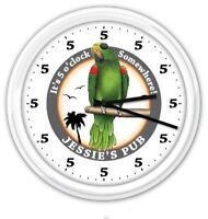 5 o'clock Somewhere Parrot Wall Clock PERSONALIZED Pub Bar Beer - GIFT