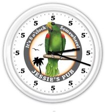 5 o'clock Somewhere Parrot SILENT Wall Clock PERSONALIZED Pub Bar Beer - GIFT