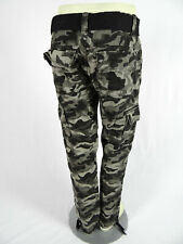 Mens Camo Cargo Pants Washed Faded Evolution Grey with Belt and Ankle Ties
