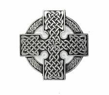 Celtic Cross Round Belt Buckle - Black