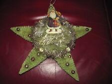 """#22- 13""""Antique German Embossed Die Cut Christmas Santa Bottle Brush Star Wreath"""