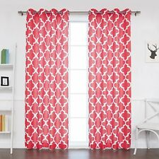 "BestHomeFashion Oxford Basketweave Moroccan Curtain Cardinal red 52x96"" 2 panels"