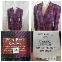 Vtg JOS A BANKS Womens Sz 14 Black Purple Red Plaid 100% Wool Blazer Jacket USA