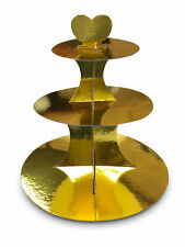 GOLD 3 Tier Cupcake Stand Muffin Holder Cardboard Cake Rack Boys Girl Kids Party