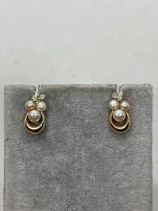 14k yellow gold cultured pearl diamond cluster stud earrings 3.6g cute estate