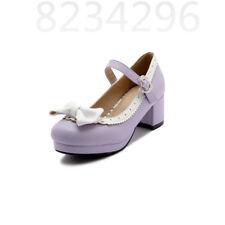 Süß Cosplay Damen Mary Janes Schleife Blockabsatz Lolita Pumps Schuhe Gr.32-43