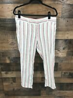 Ann Taylor Loft Women's Coral Grey White Stripe Linen Blend Pants Size 10P