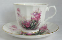 Royal Victorian Fine English Bone China Teacup Tea Cup Saucer Pink Irises Flower
