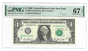 2009 $1 NEW YORK FRN, PMG SUPERB GEM UNCIRCULATED 67 EPQ BANKNOTE