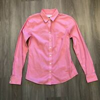 Banana Republic Womens Size 6 Non-Iron Fitted Stretch Pink Striped Button Shirt