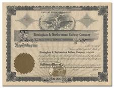 Birmingham & Northwestern Railway Company Stock Certificate (Tennessee)