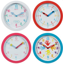 NEW Learn To Tell The Time Wall Clock Children Kids Bedroom Playroom Boys Girls