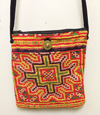 Shoulder Bag Purse Embroidered Red and Green Handbag Hmong Hill Tribe