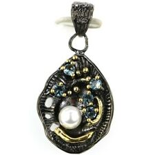 Vintage London Blue Topaz White Pearl Balck Gold Silver Pendant