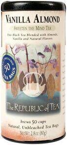 Vanilla Almond Black Tea by The Republic of Tea, 50 tea bag with Caffeine