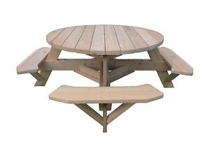 """56"""" Round Top Western Red Cedar Picnic Table with Easy Seating"""