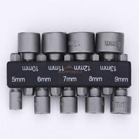 "9Pcs 1/4"" Hex Screw Nut Driver Set Metric Socket Impact Drill Bits 5 to 13mm #5H"