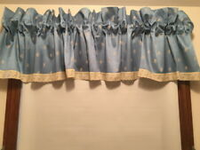 J C PENNEY BLUE VALANCE EMBROIDERED FLOWERS EYELET TRIM W 81 in L 15 in  RodPkt