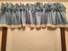 "J C PENNEY BLUE VALANCE EMBROIDERED FLOWERS EYELET TRIM W 81 "" X L 15 ""  RodPkt"