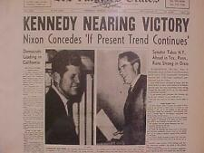 VINTAGE NEWSPAPER HEADLINE~SENATOR JFK JOHN KENNEDY PRESIDENT VICTORY WINS NIXON