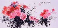 STUNNING ORIENTAL ASIAN FLORAL ART CHINESE WATERCOLOR PAINTING-Peony flowers