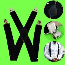 Men's 50mm Wide Heavy Duty Clip-on Suspenders Adjustable Brace X Shape