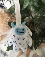 Yeti Big Foot Snowman White Blue Felt  Christmas Tree Decoration Hand Crafted