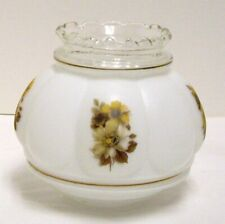 Frosted Glass Hurricane Lamp Shade Globe Yellow Brown Flowers Clear Top GWTW