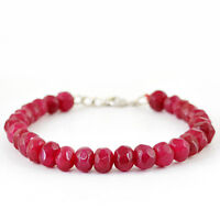 132.45 CTS EARTH MINED RICH RED RUBY ROUND SHAPED FACETED BEADS BRACELET (RS)