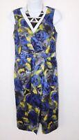 Hobbs ladies a line dress blue Yellow Mix sleeveless Career occasion sz 10
