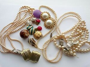 Vintage Broken Jewellery Mixed Lot Pearl Necklaces  & Earrings Harvest Craft