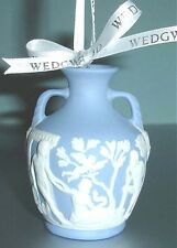 Wedgwood Iconic Portland Blue Vase Christmas Ornament White Relief 2010 New
