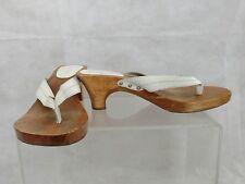 Candie's 10 White Studded Platform Wood (?) Slides Heels Sandals