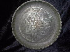 ANTIQUE ENGRAVED METAL TRAY 'ARCHANGEL MICHAEL' BYZANTINE STYLE.